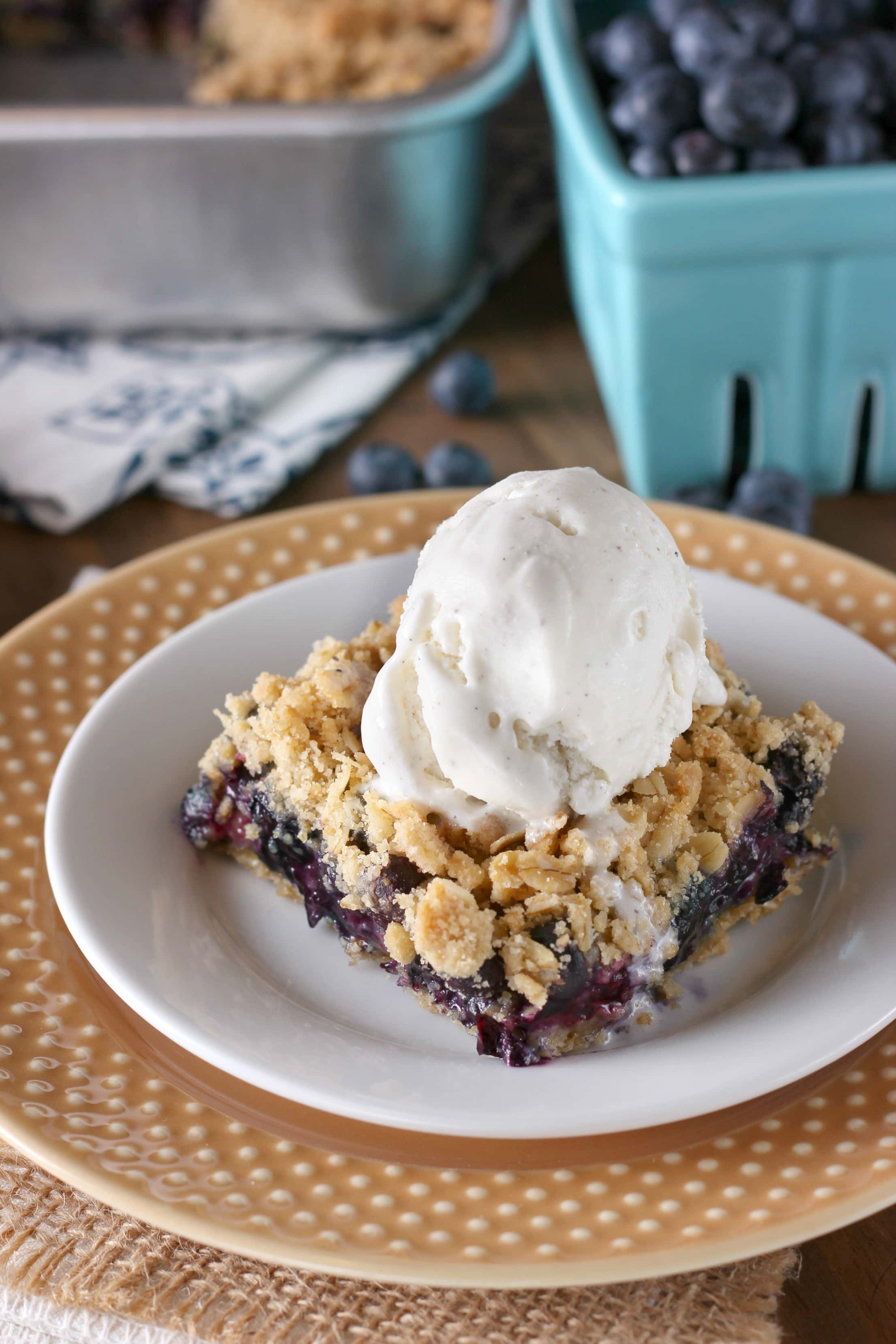 Blueberry Crisp Bars are an easy crumble bar recipe from A Kitchen Addiction