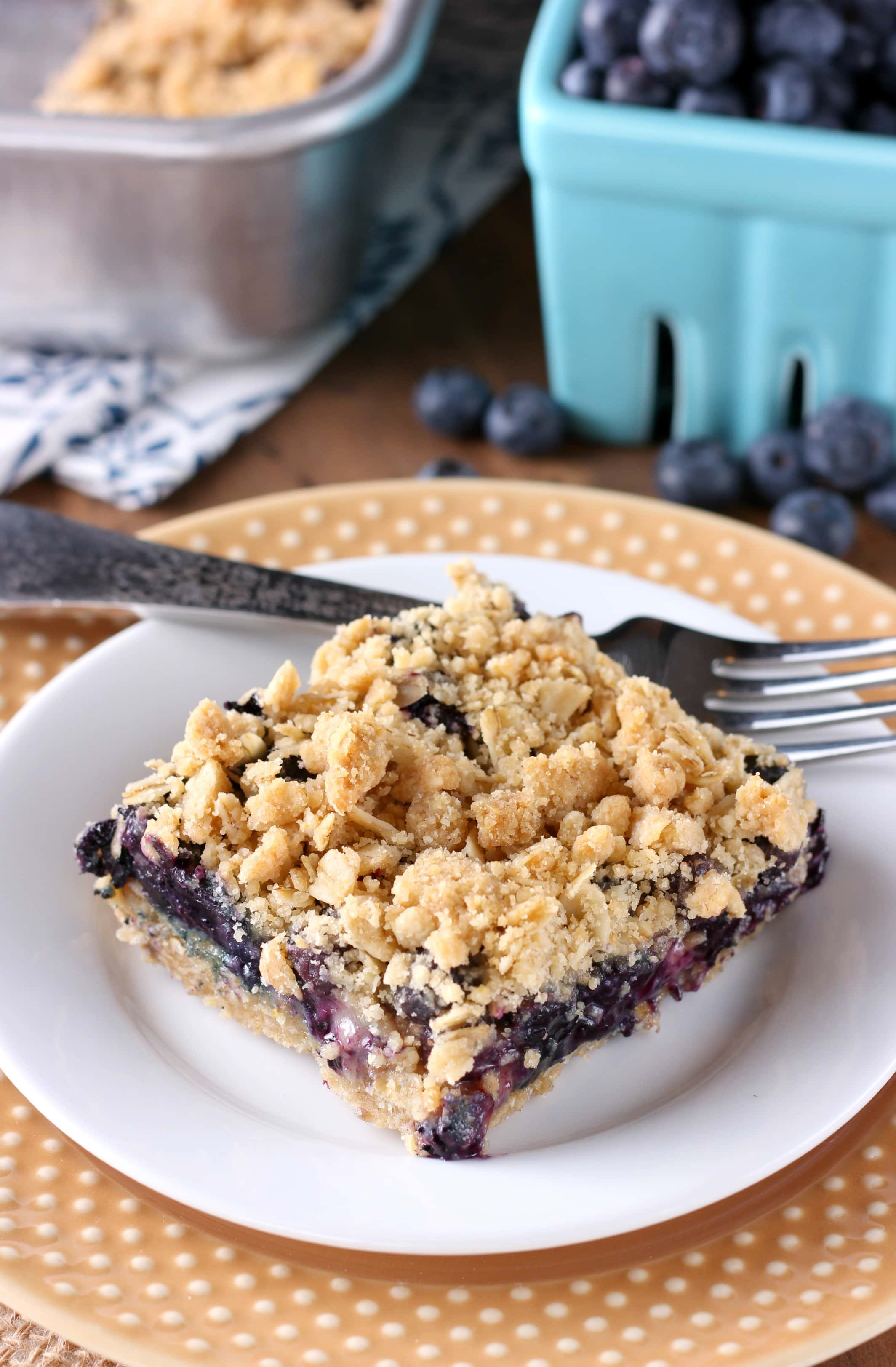 Easy Blueberry Crisp Bars Recipe from A Kitchen Addiction