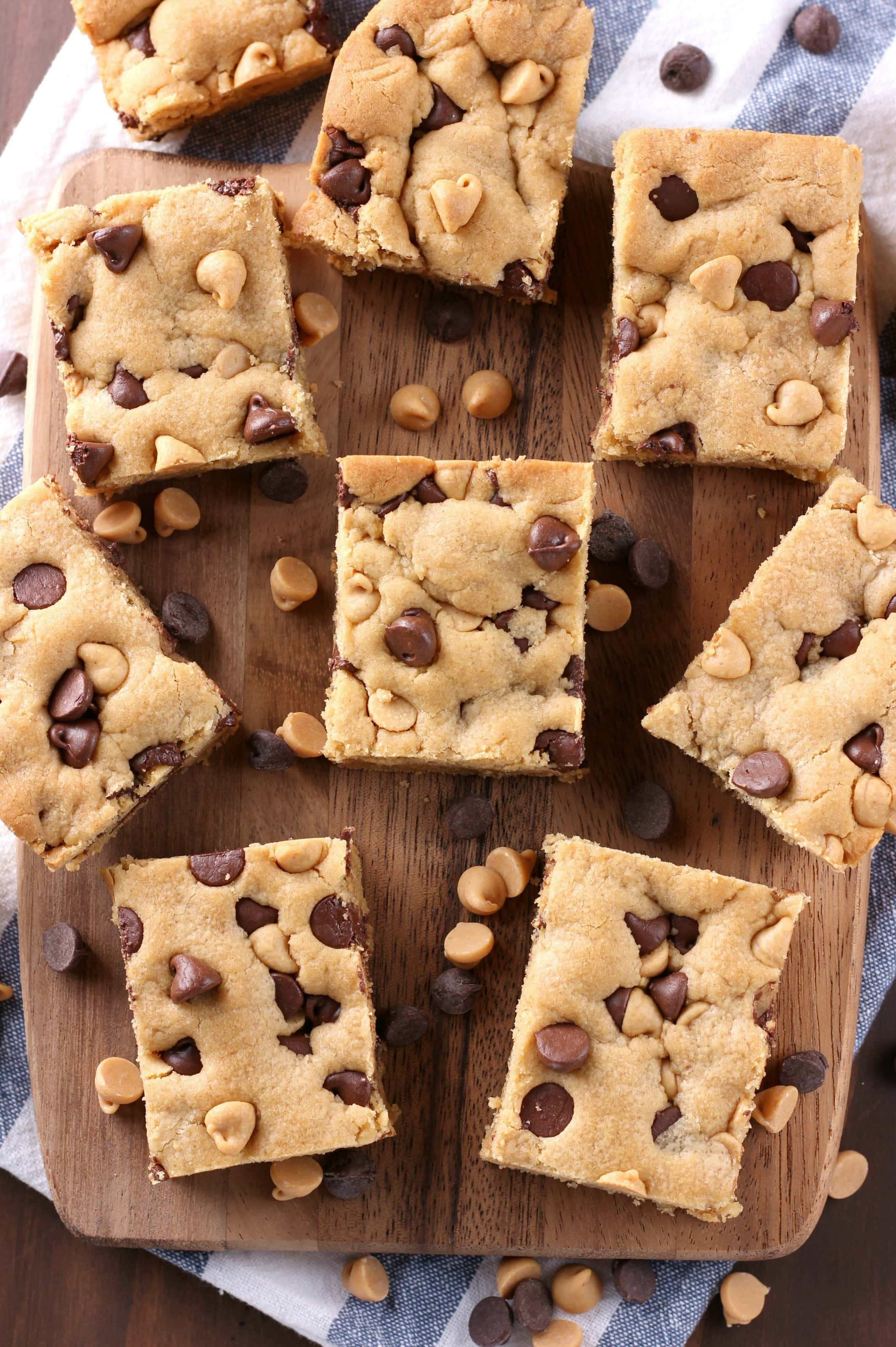 One Bowl Chocolate Chip Peanut Butter Cookie Bars Recipe from A Kitchen Addiction