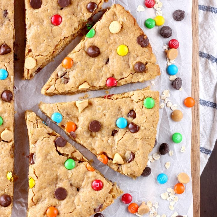 Healthier Chocolate Chip Peanut Butter Oat Cookie Wedges Recipe from A Kitchen Addiction