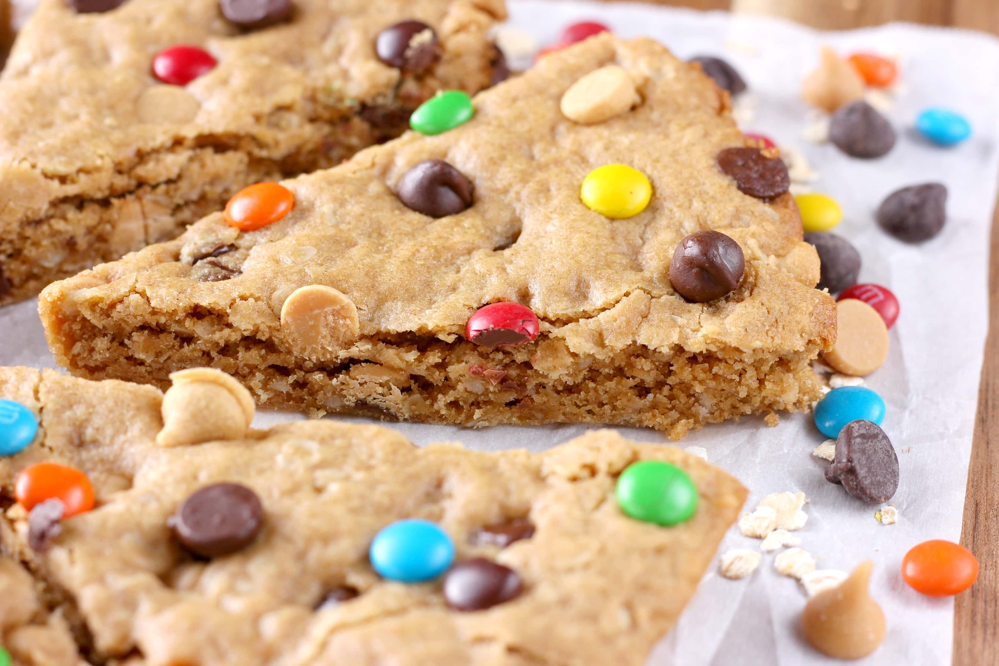 Lightened Up Chocolate Chip Peanut Butter Oat Cookie Wedges Recipe