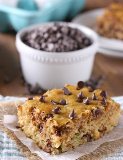Quick and Easy One Bowl Chocolate Chip Zucchini Cake Recipe from A Kitchen Addiction