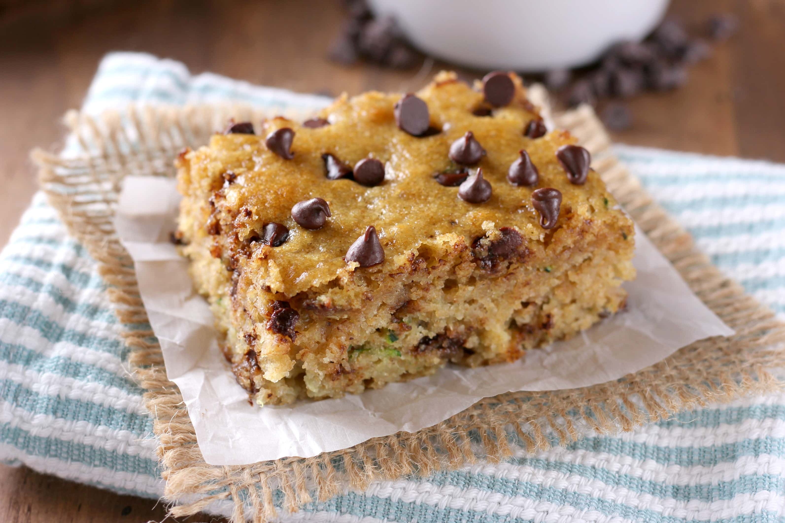 One Bowl Chocolate Chip Zucchini Bars Recipe from A Kitchen Addiction