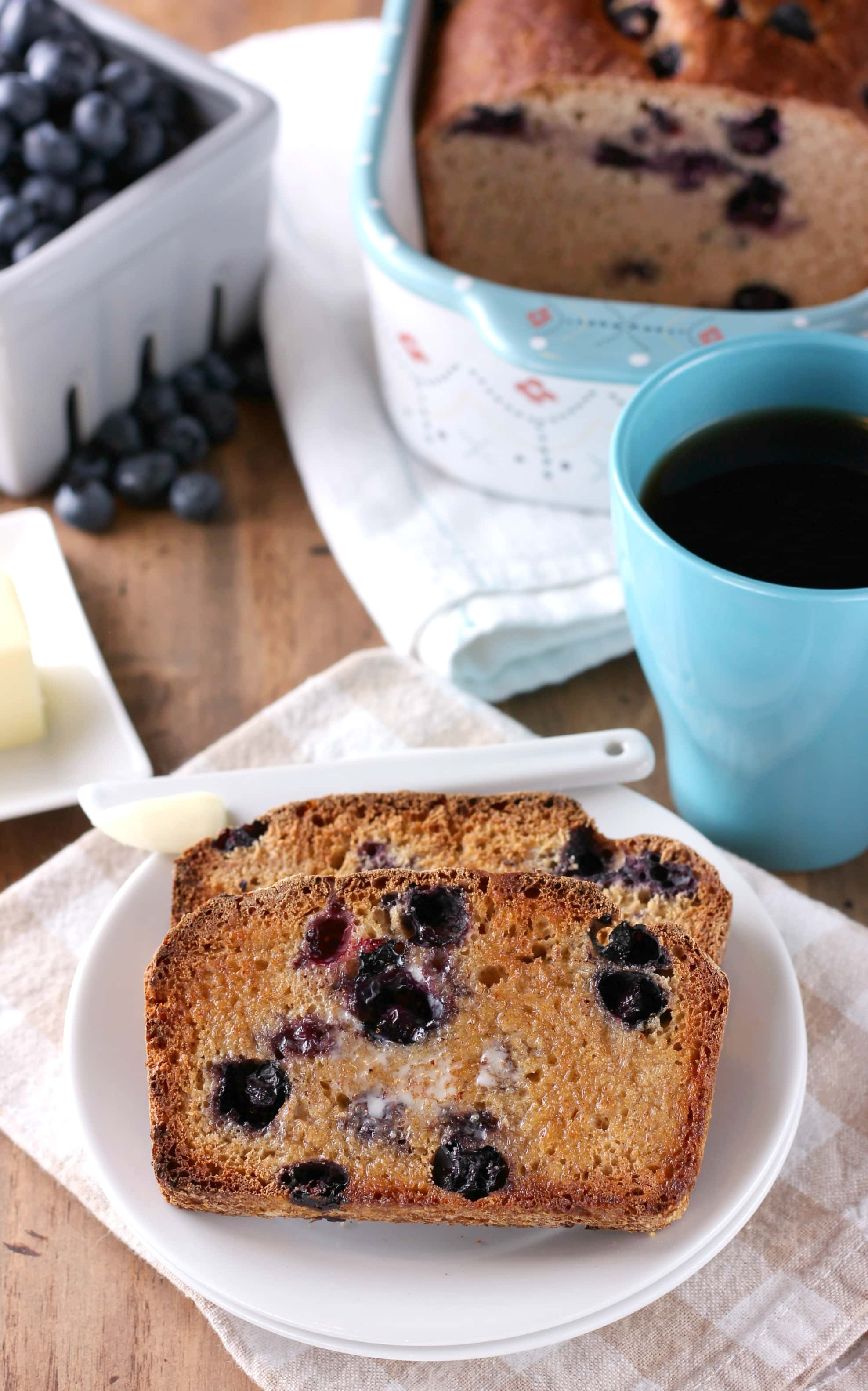 Blueberry English Muffin Bread Recipe from A Kitchen Addiction