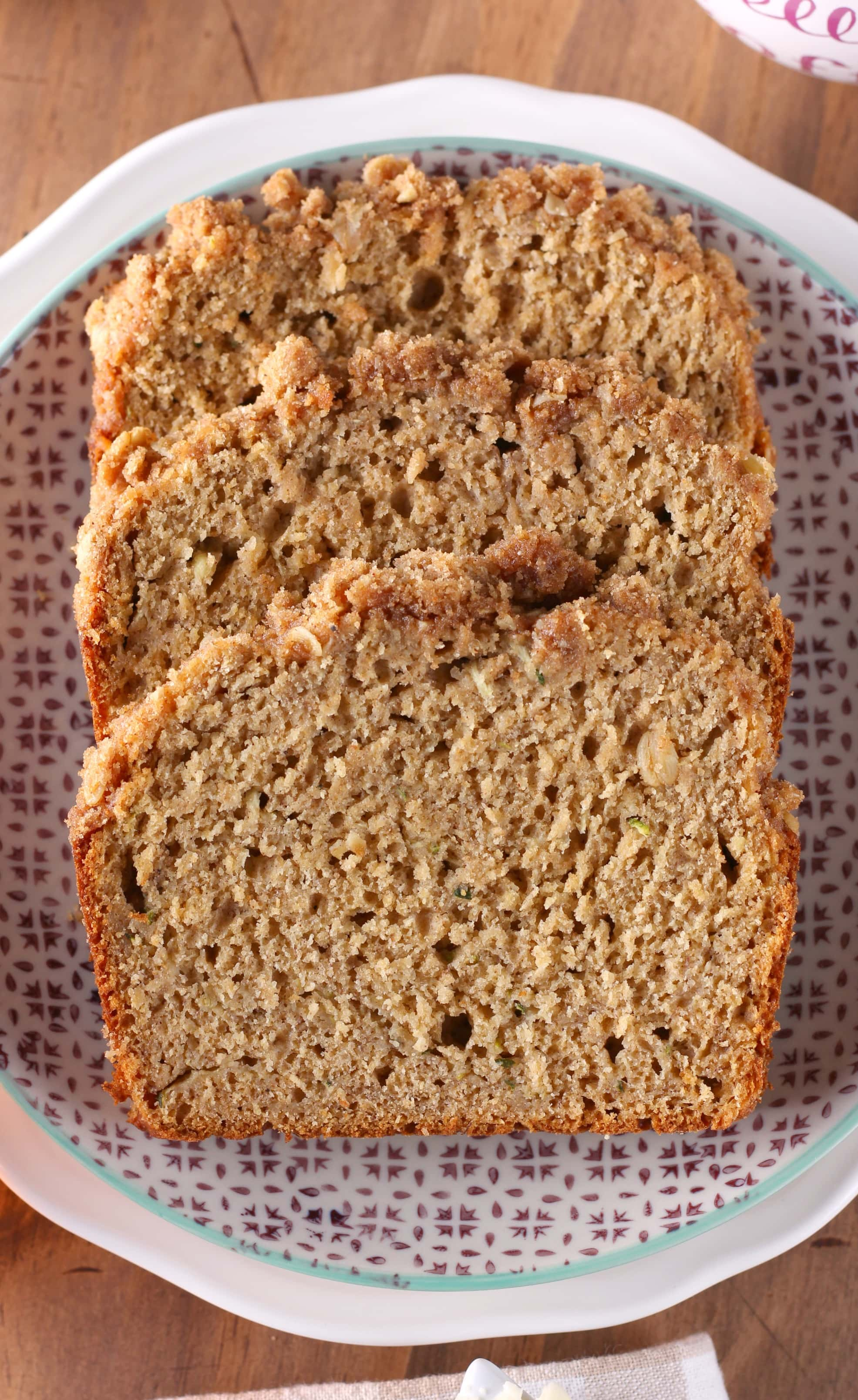 Cinnamon Streusel Zucchini Banana Quick Bread Recipe from A Kitchen Addiction