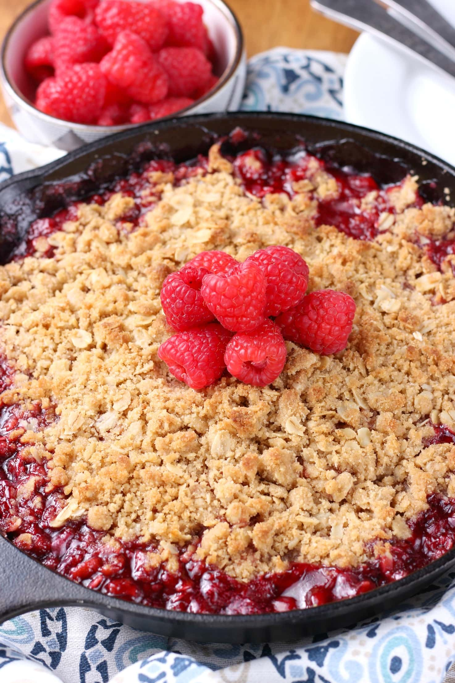 Simple Raspberry Skillet Crisp made on the grill! Recipe from A Kitchen Addiction