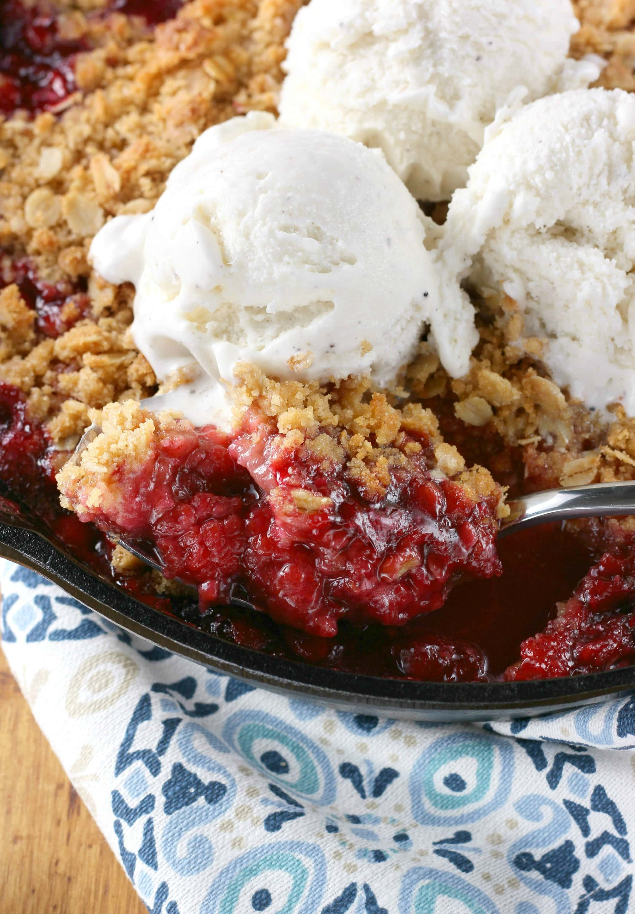 Quick and Easy Grilled Skillet Raspberry Crisp Recipe from A Kitchen Addiction