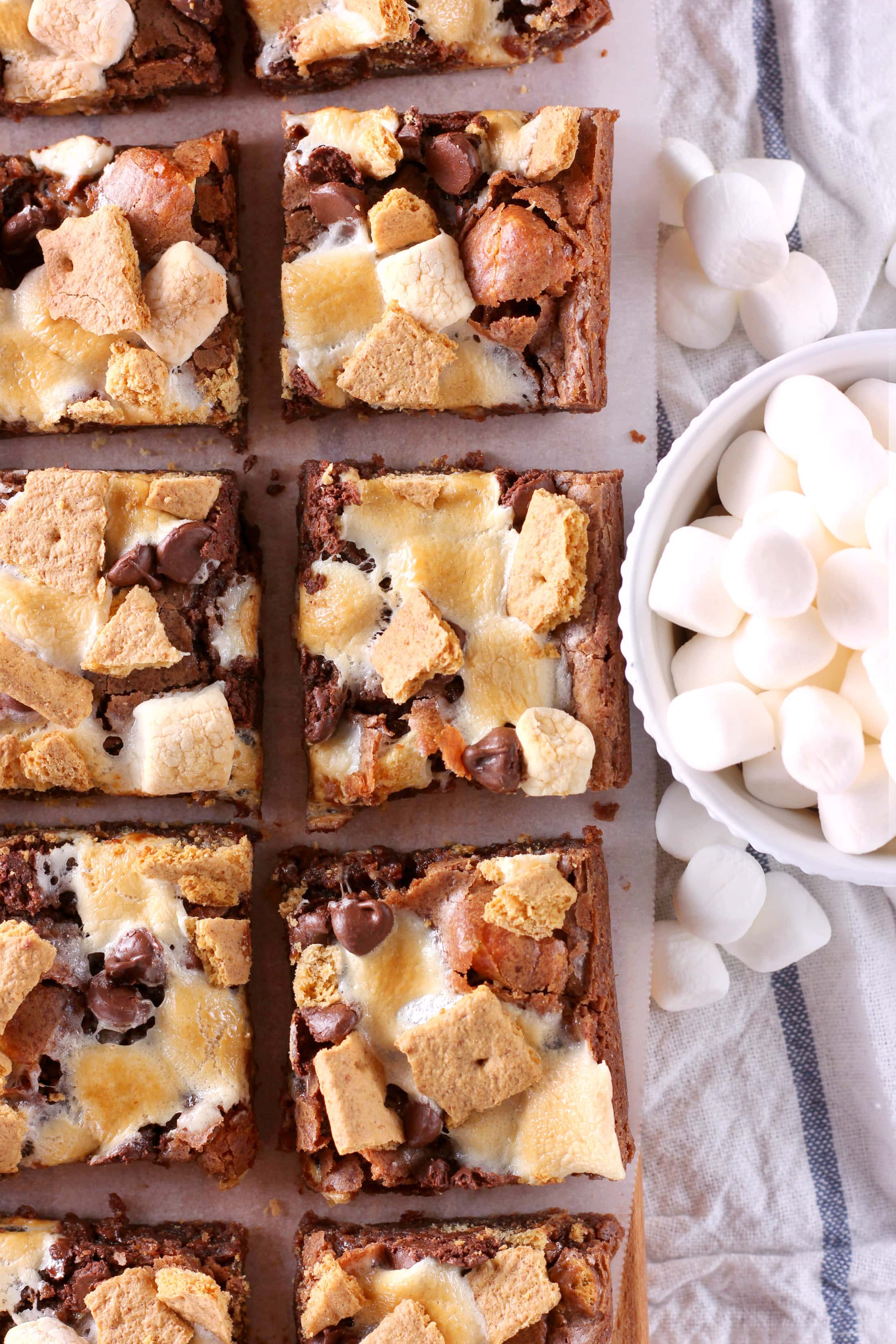 Fudgy One Bowl Smores Brownies Recipe from A Kitchen Addiction Blog