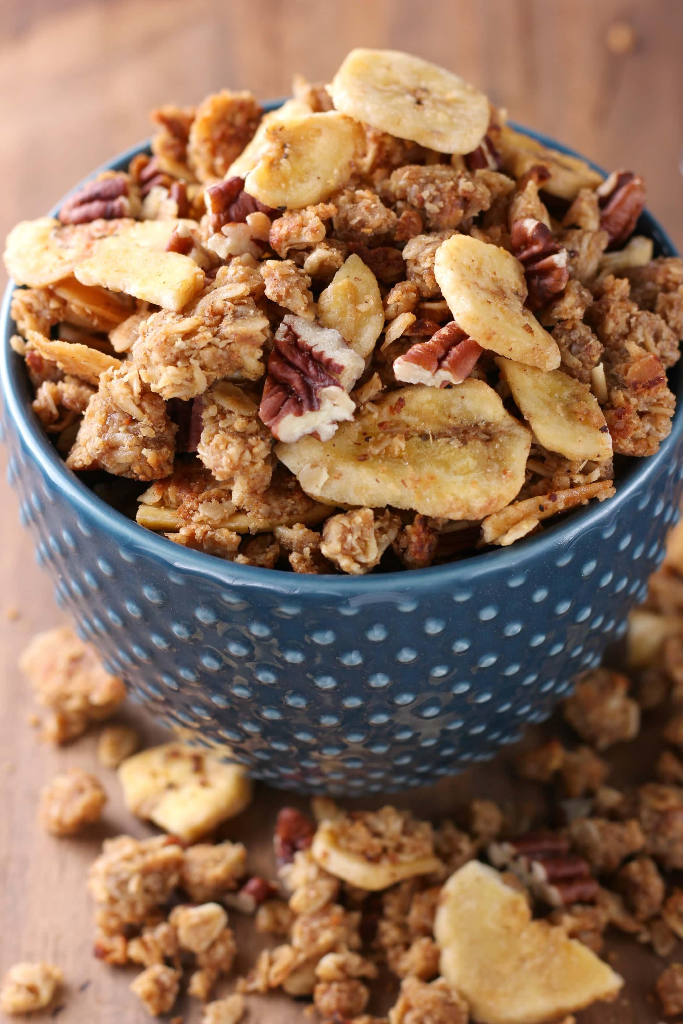 Peanut Butter Banana Bread Skillet Granola Recipe from A Kitchen Addiction