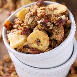Peanut Butter Banana Bread Granola made in a skillet! Recipe from A Kitchen Addiction