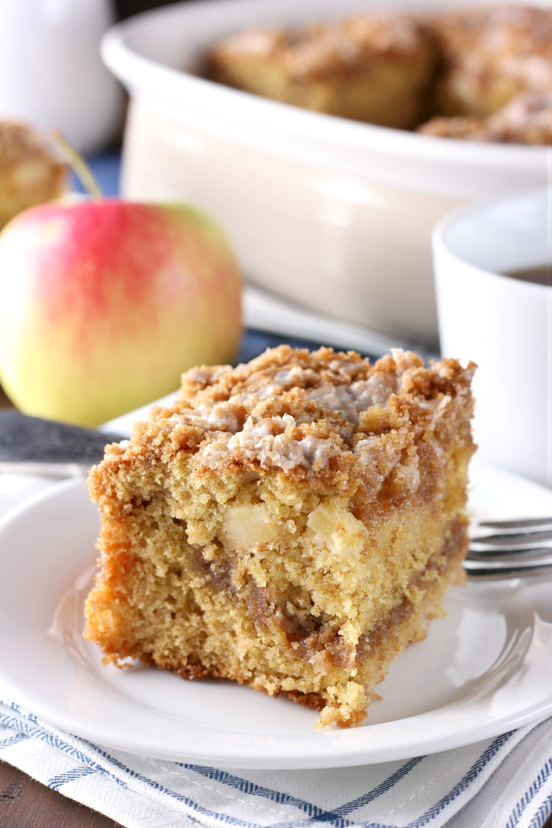 Whole Wheat Cinnamon Swirl Apple Coffee Cake Recipe from A Kitchen Addiction