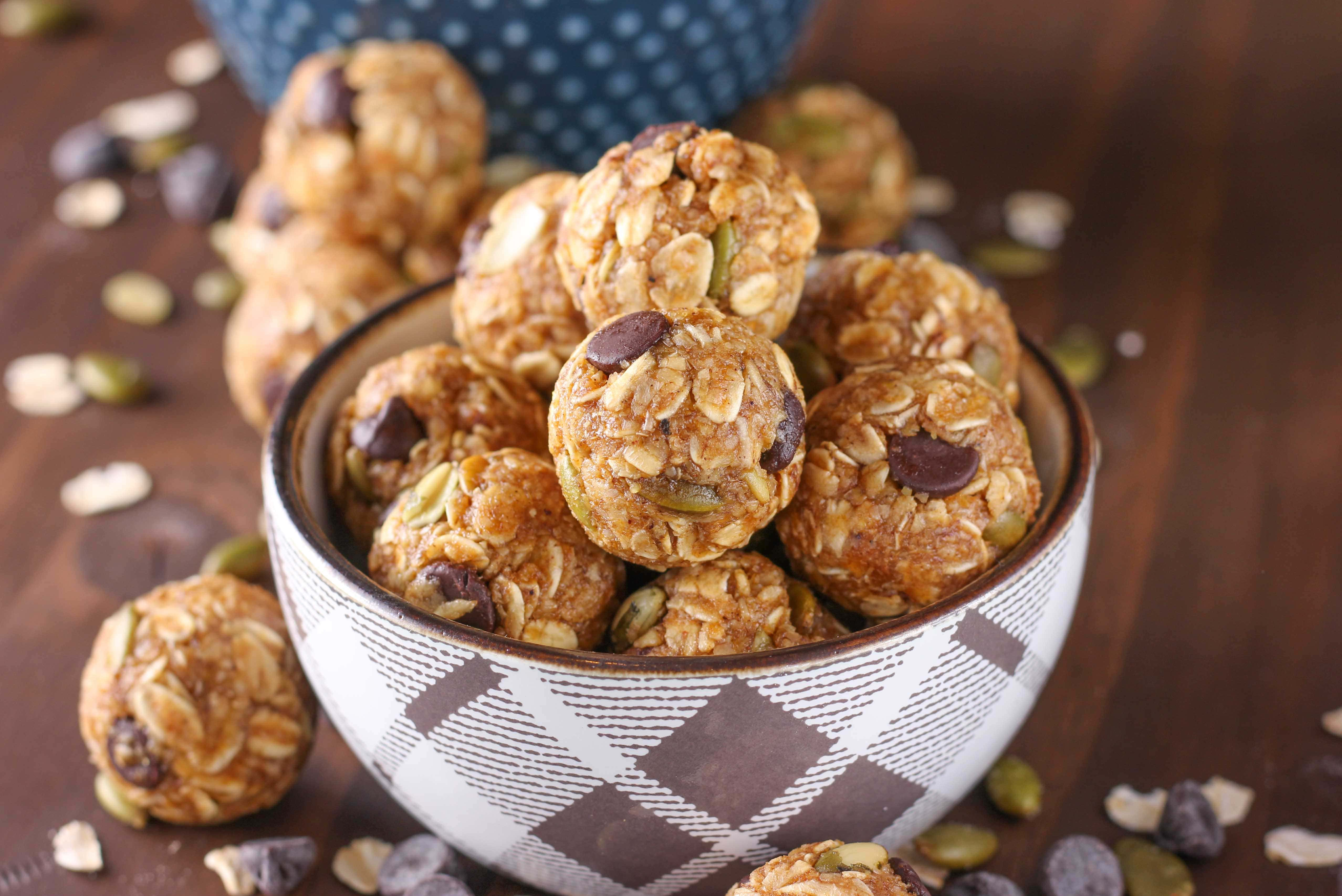 Dark Chocolate Pumpkin Spice Granola Bites Recipe from A Kitchen Addiction