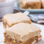 Cinnamon Apple Bars with Spiced Brown Sugar Buttercream Recipe from A Kitchen Addiction