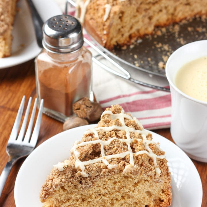 Eggnog Glazed Gingerbread Coffee Cake Recipe from A Kitchen Addiction