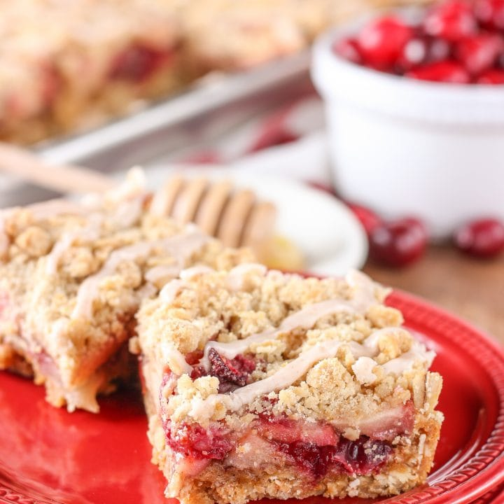 Honey Cranberry Apple Crumb Bars Recipe from A Kitchen Addiction