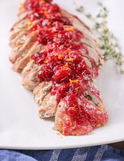 Juicy Slow Cooker Cranberry Orange Turkey Breast Recipe from A Kitchen Addiction