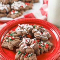 Chocolate Peppermint Spritz Cookies