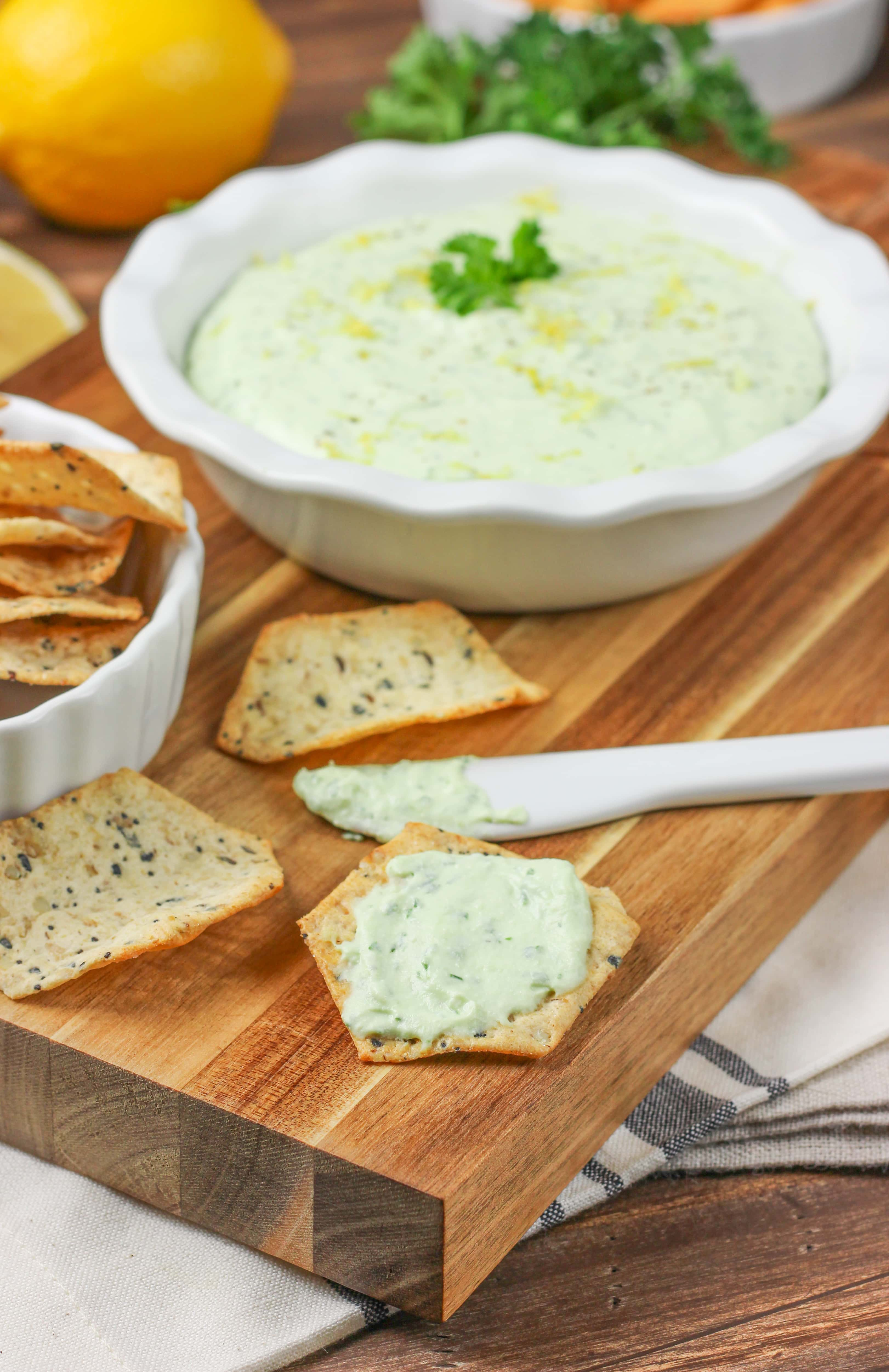 Creamy Lemon Herb Feta Dip Recipe from A Kitchen Addiction