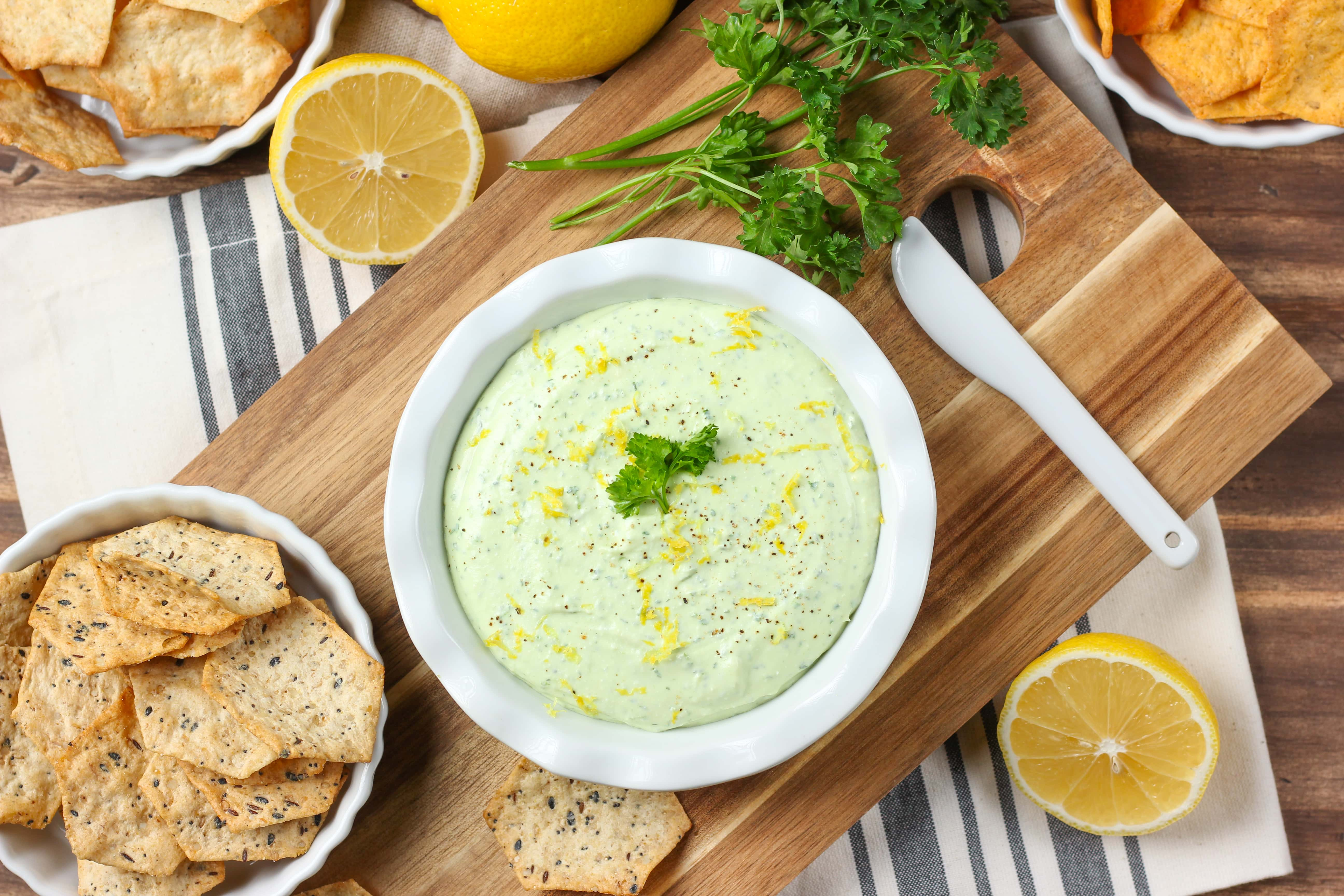 Easy Creamy Lemon Herb Feta Dip Recipe from A Kitchen Addiction