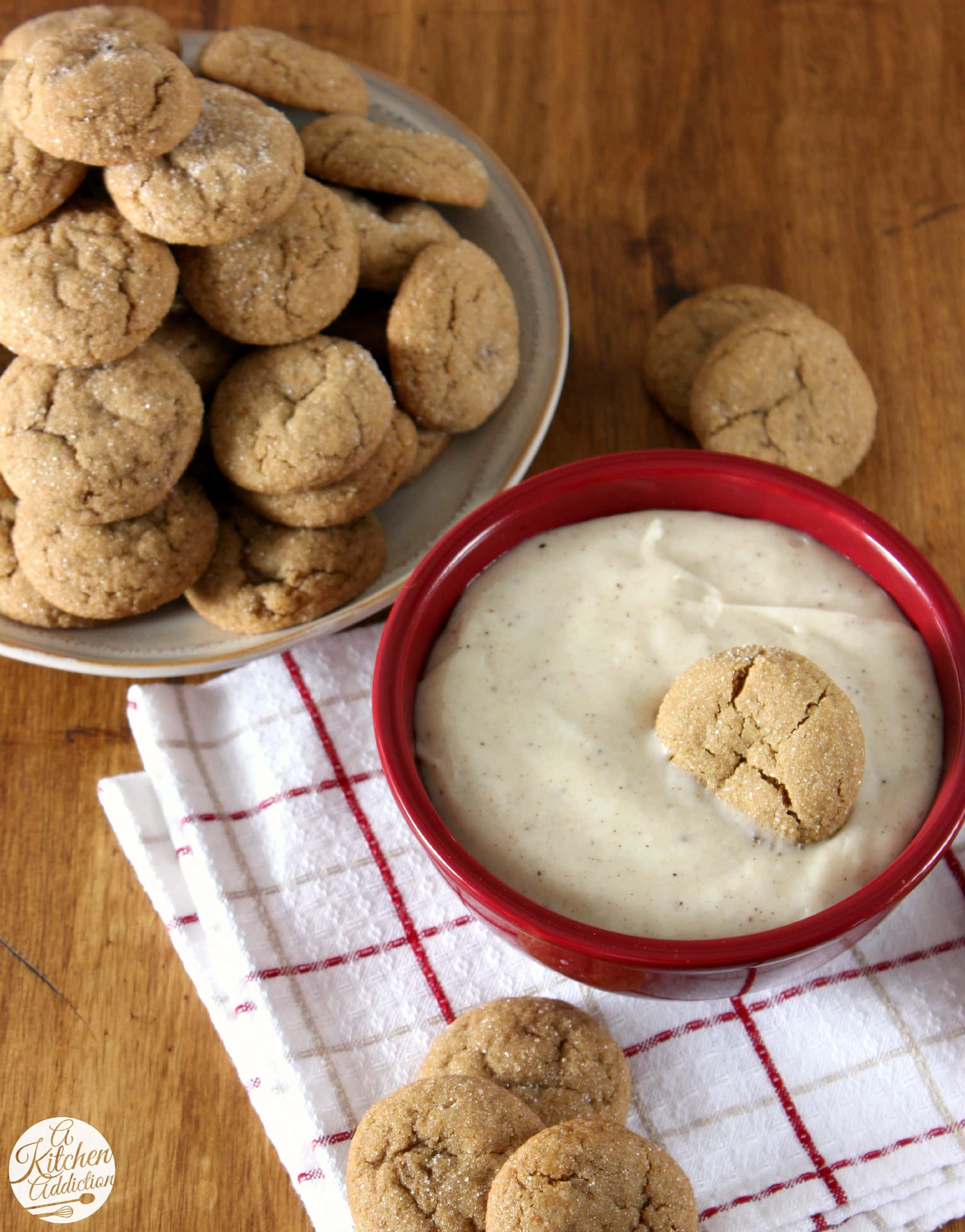 Soft Baked Ginger Cookies with Eggnog Cheesecake Dip