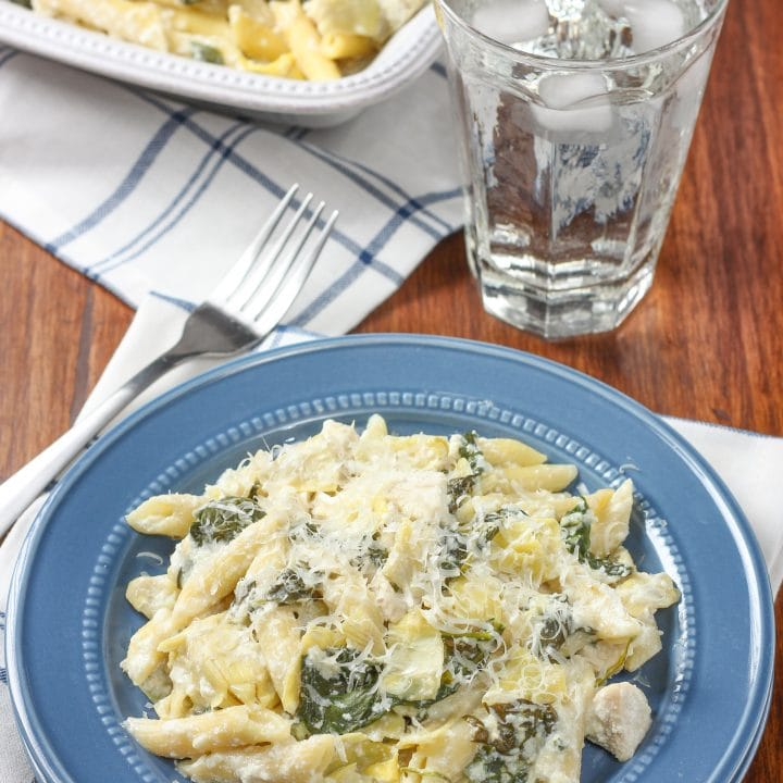 Spinach Artichoke Chicken Penne Recipe from A Kitchen Addiction