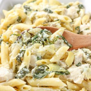 Easy Spinach Artichoke Chicken Penne Recipe from A Kitchen Addiction