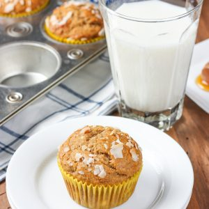 Whole Wheat Peanut Butter Banana Protein Muffins Recipe from A Kitchen Addiction