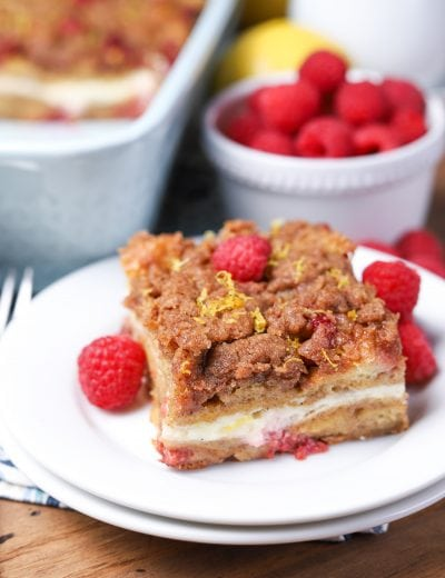 Raspberry Lemon Cream French Toast Bake (Overnight Option!)