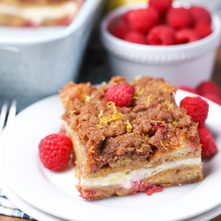 Raspberry Lemon Cream French Toast Bake