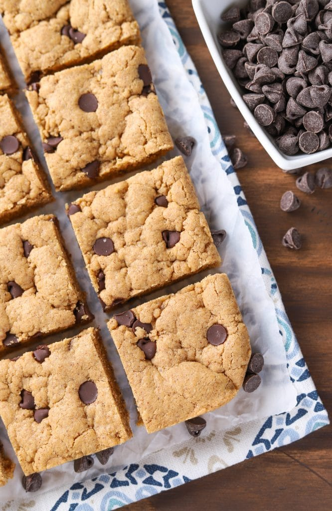 One Bowl Chocolate Chip Almond Butter Bars {Whole Wheat}