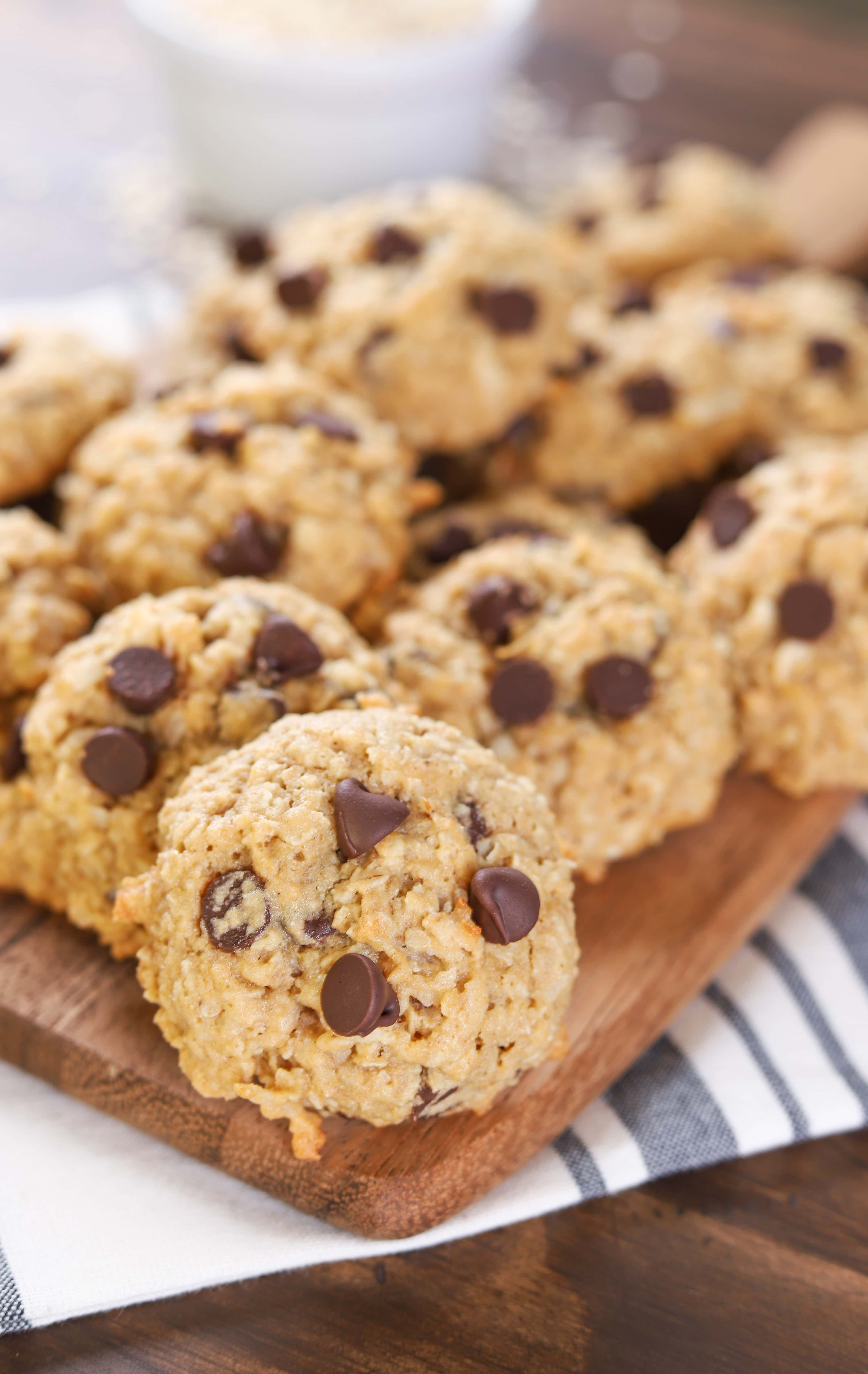 Coconut Chocolate Chip Honey Oatmeal Cookies Recipe