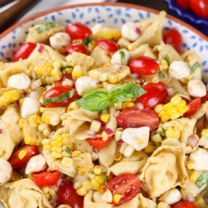Easy Caprese Corn Tortellini Salad Recipe from A Kitchen Addiction