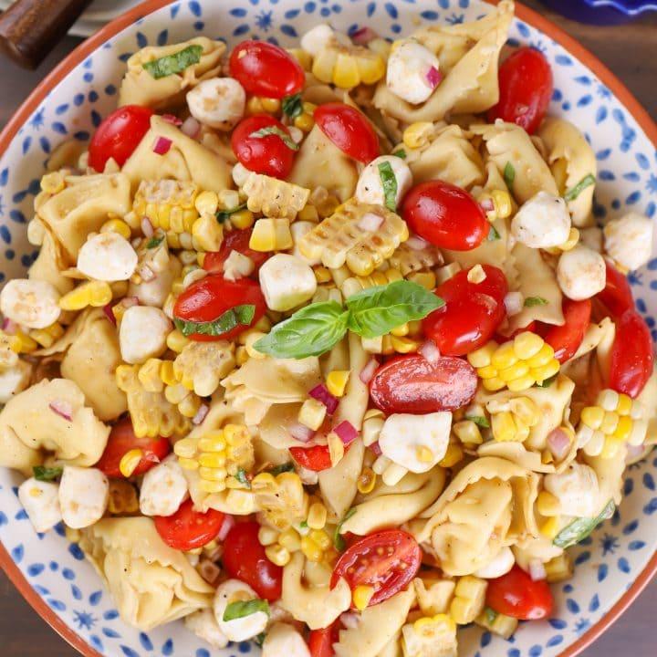 Caprese Corn Tortellini Salad