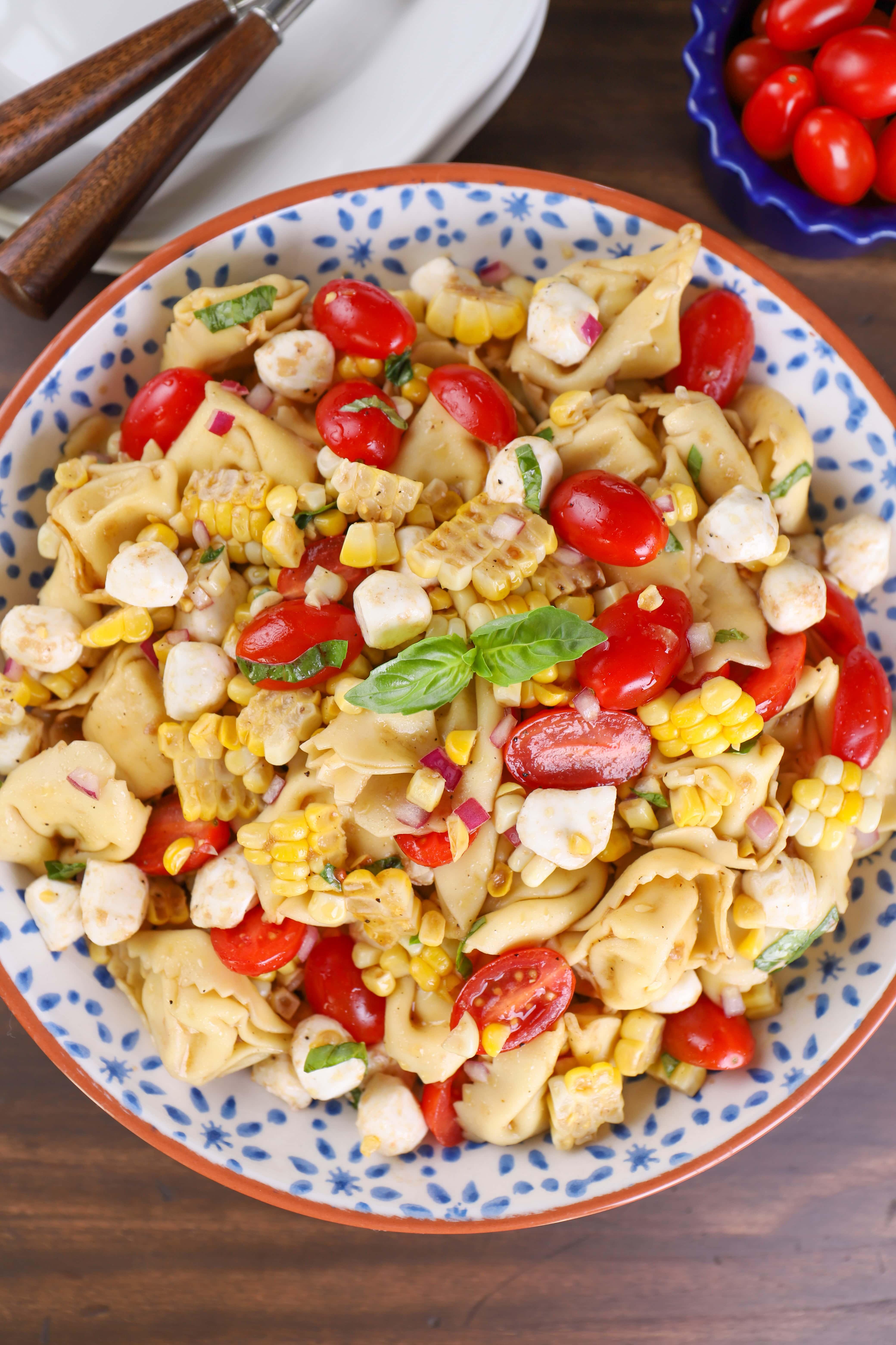 Caprese Corn Tortellini Salad Recipe
