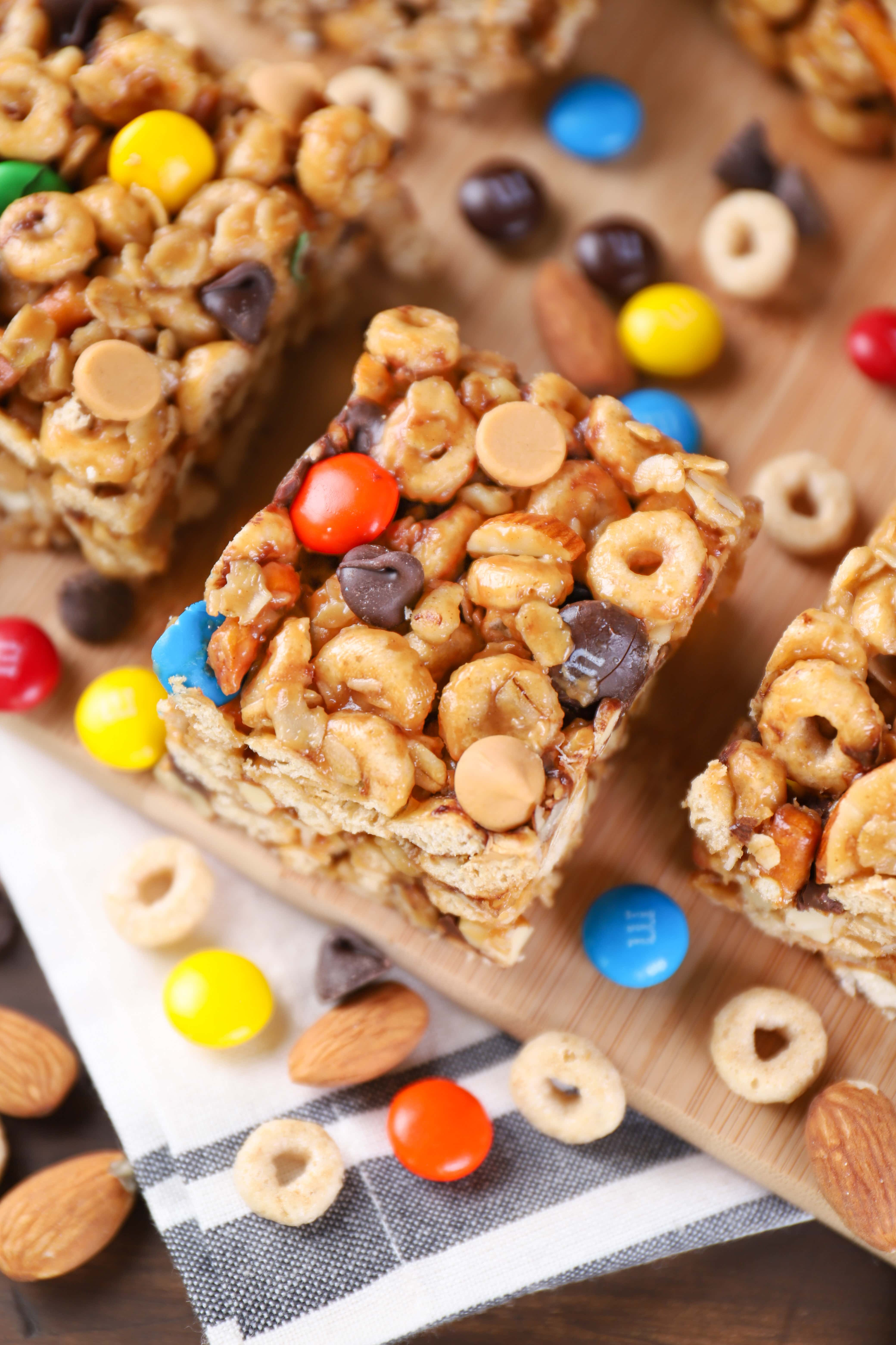 No Bake Trail Mix Cereal Bars Recipe from A Kitchen Addiction