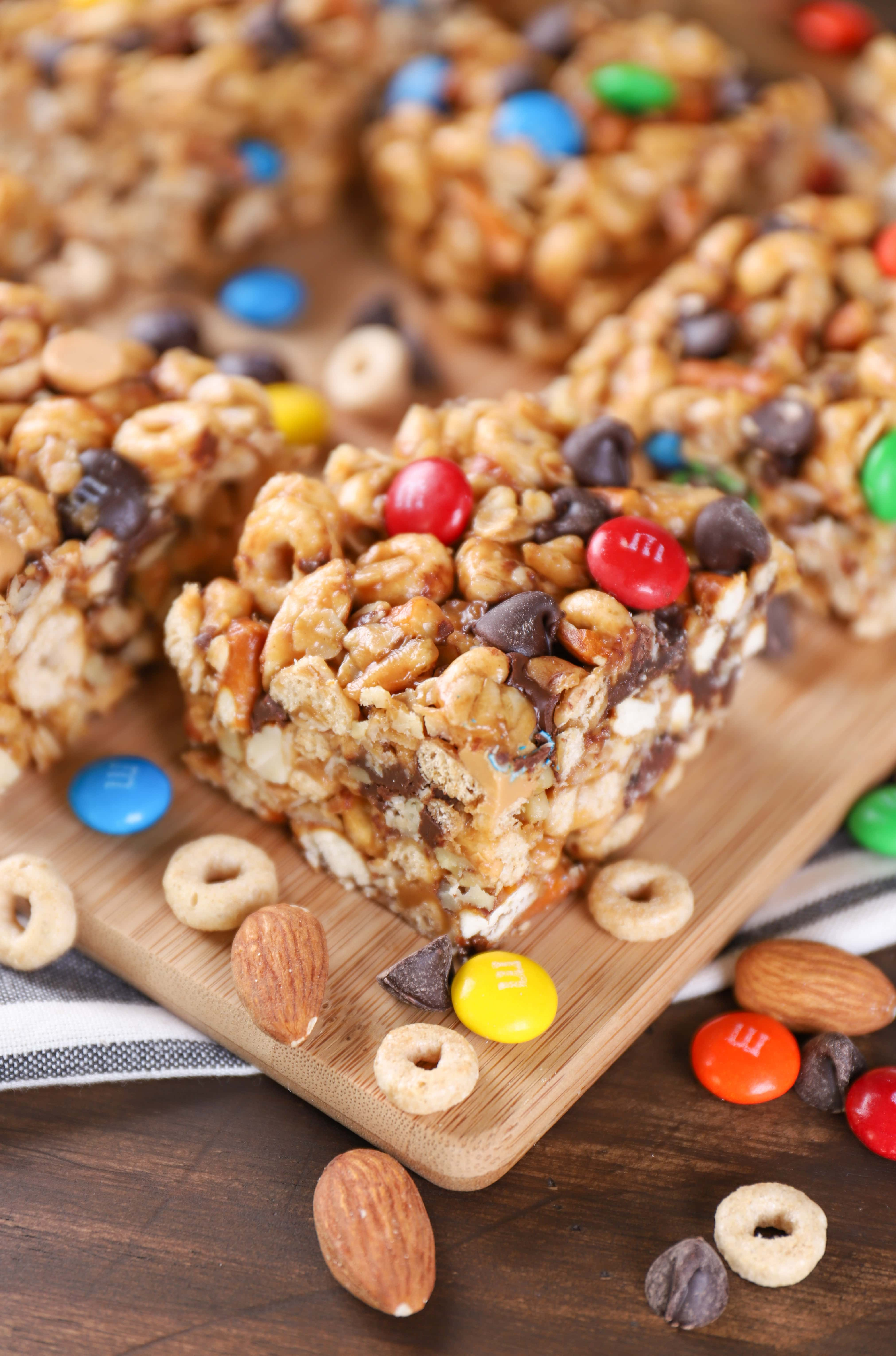 Trail Mix Cereal Bars Recipe from A Kitchen Addiction