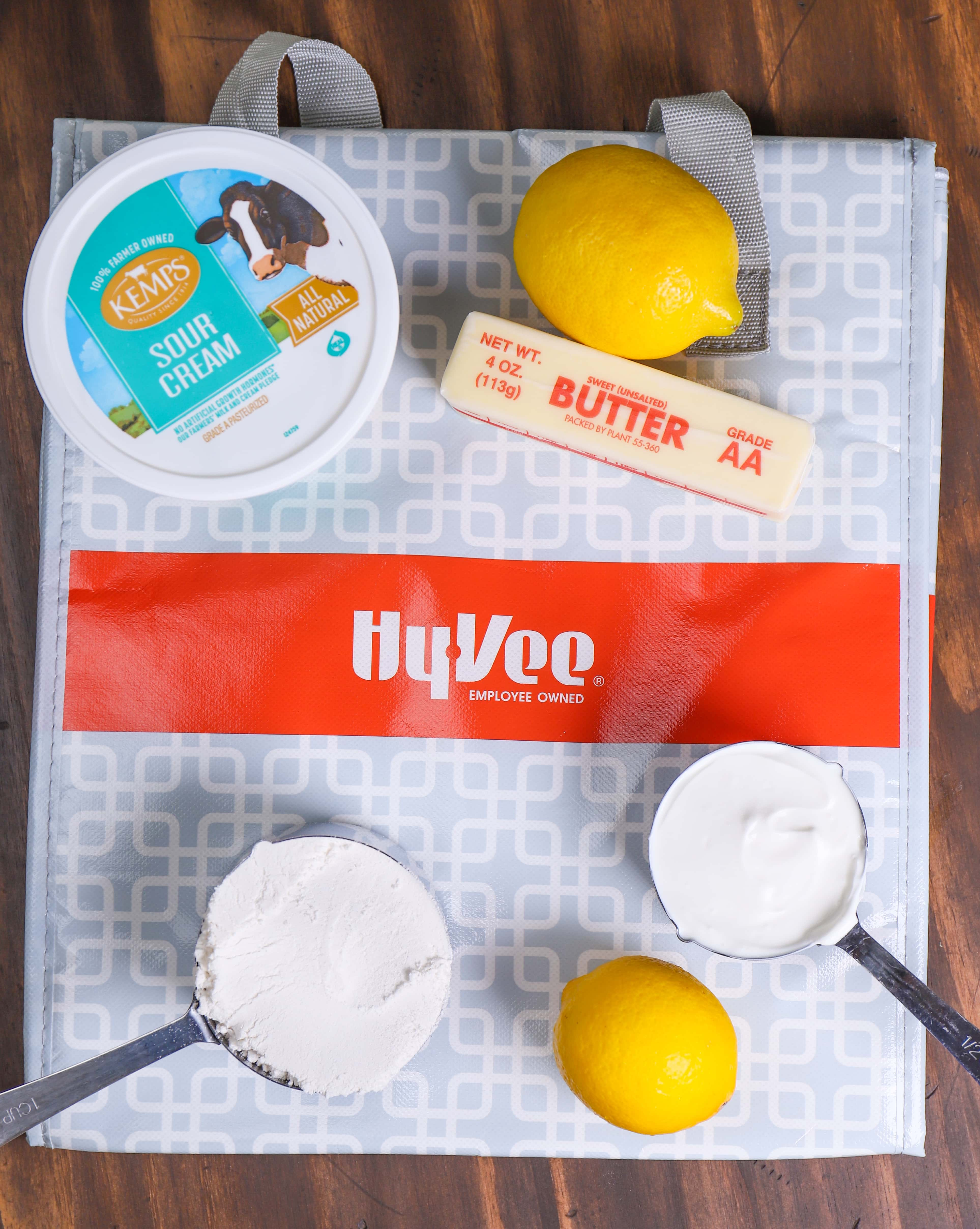 Cookie Bar Ingredients with HyVee Shopping Bags