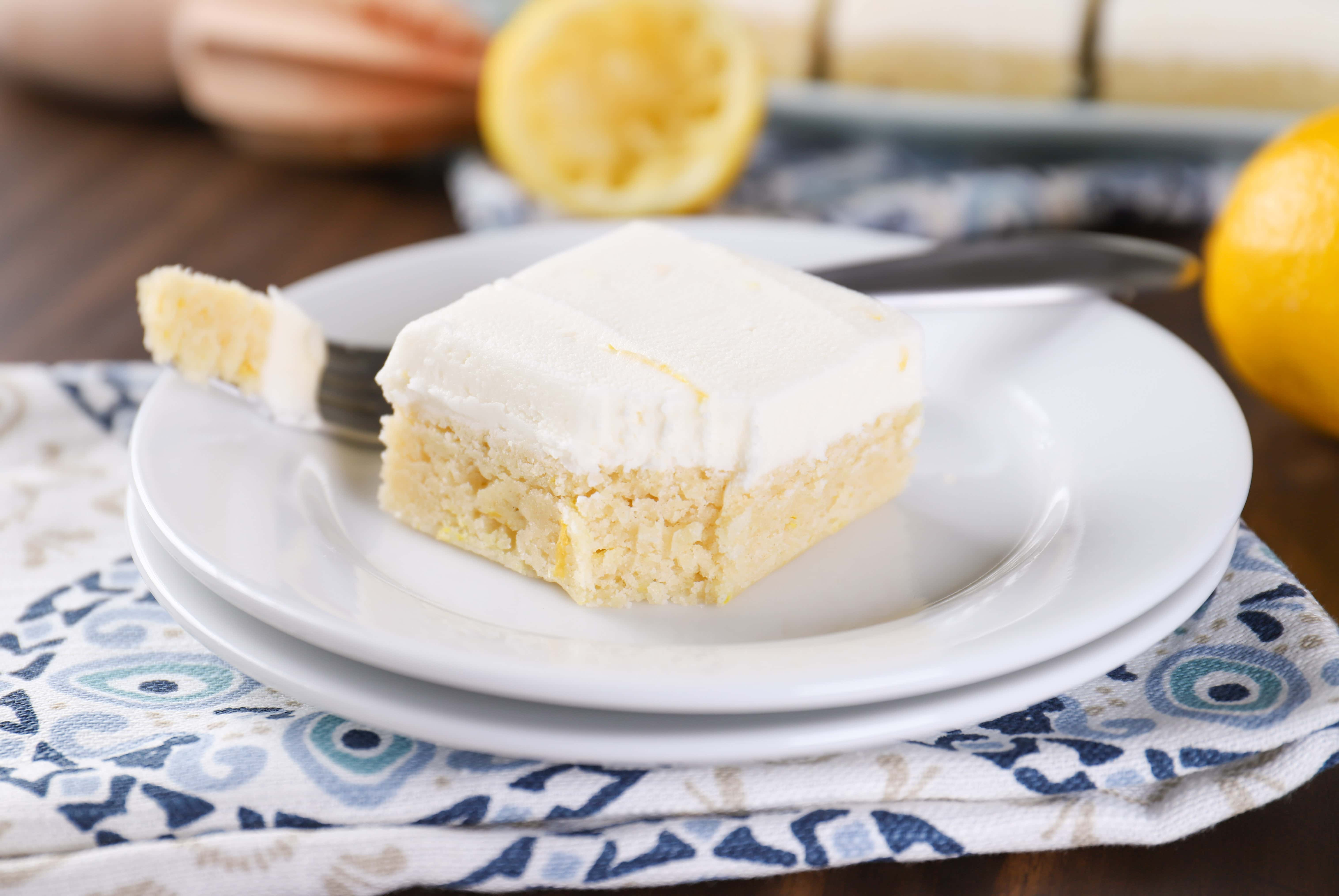 Frosted Lemon Sour Cream Cookie Bars Recipe