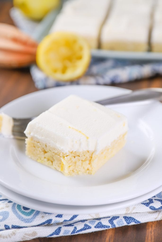 Frosted Lemon Sour Cream Cookie Bars