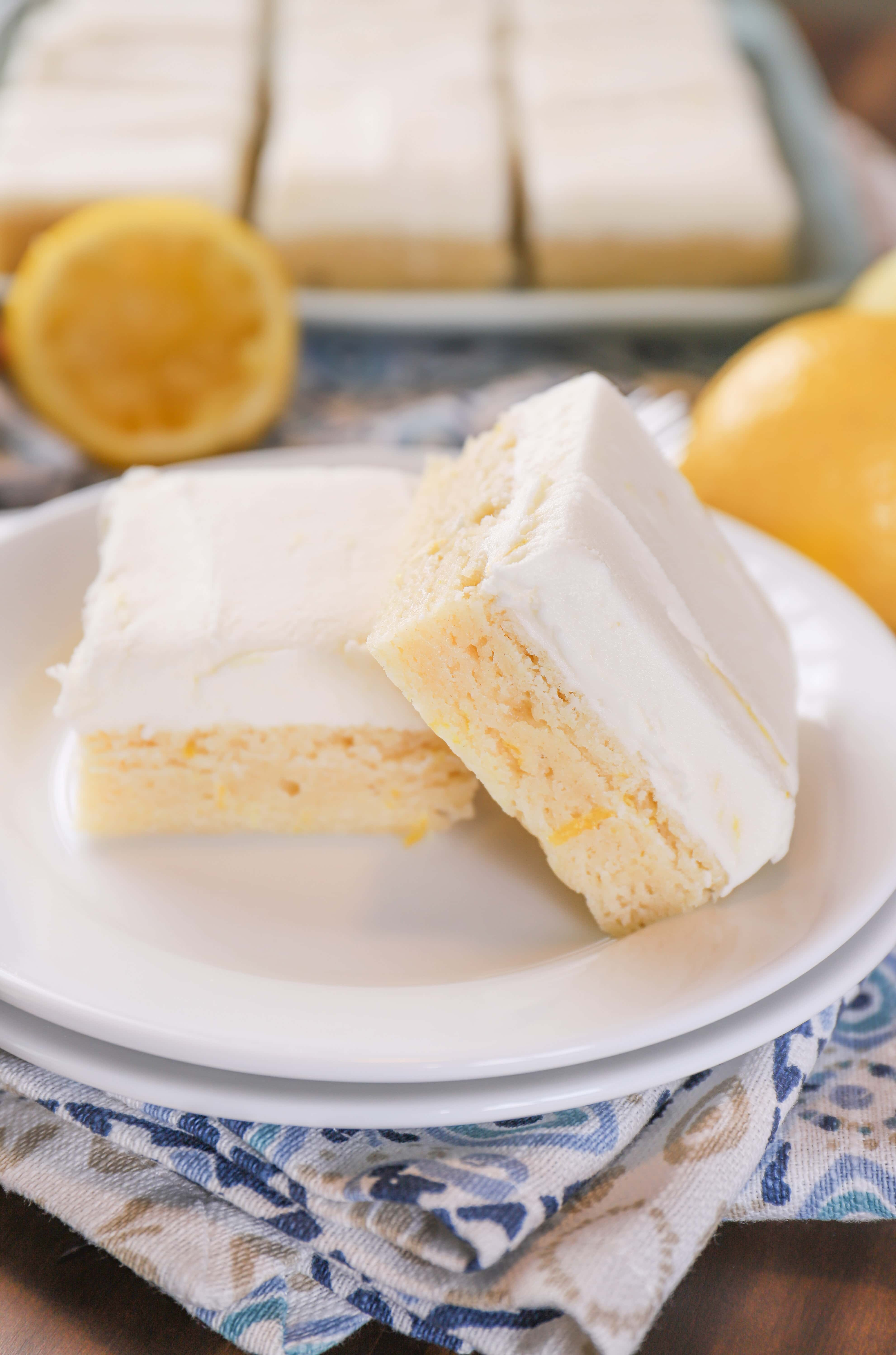Frosted Lemon Sour Cream Cookie Bars Recipe from A Kitchen Addiction