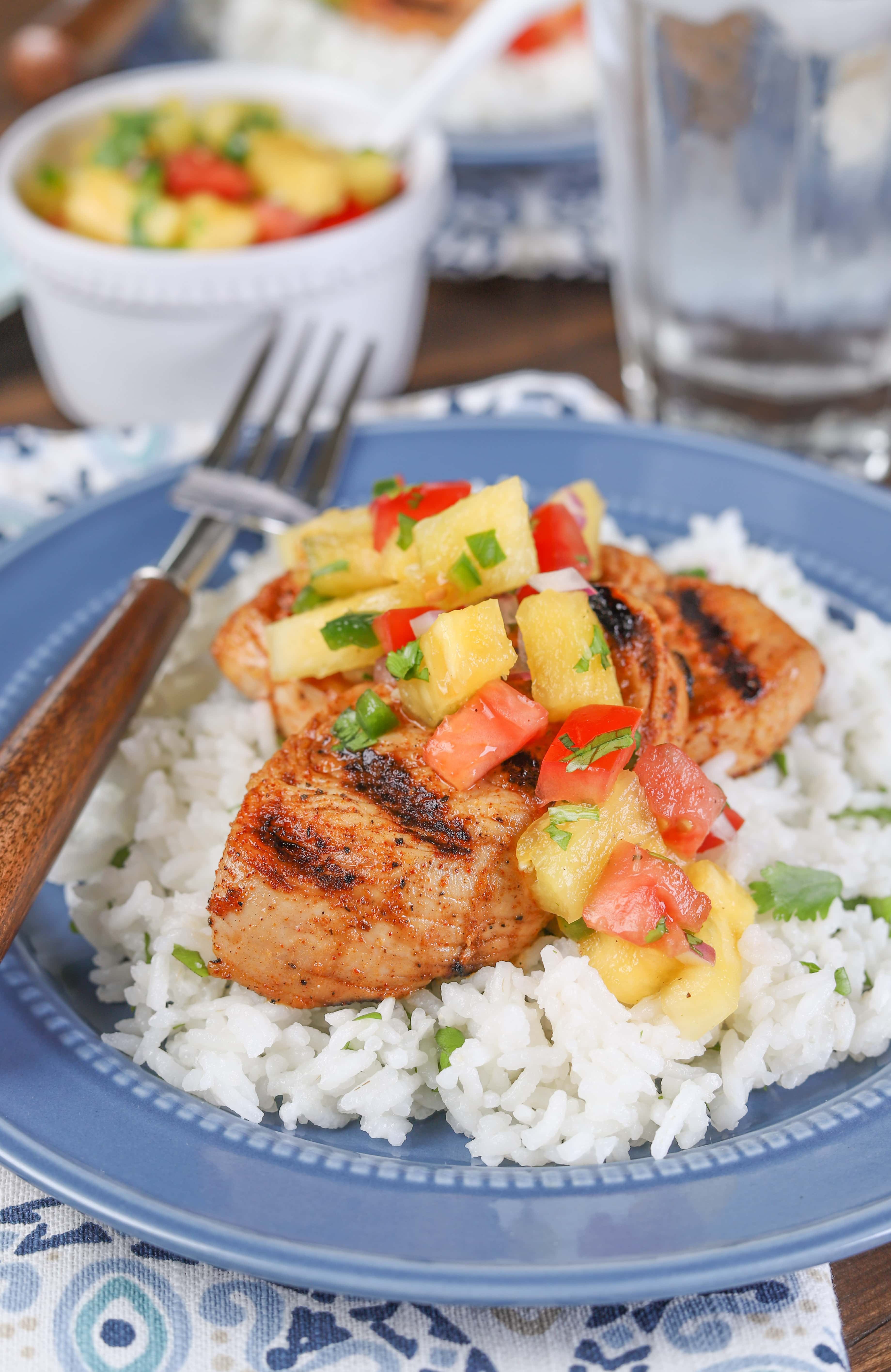 Grilled Chili Lime Turkey Tenders with Fresh Pineapple Salsa Recipe