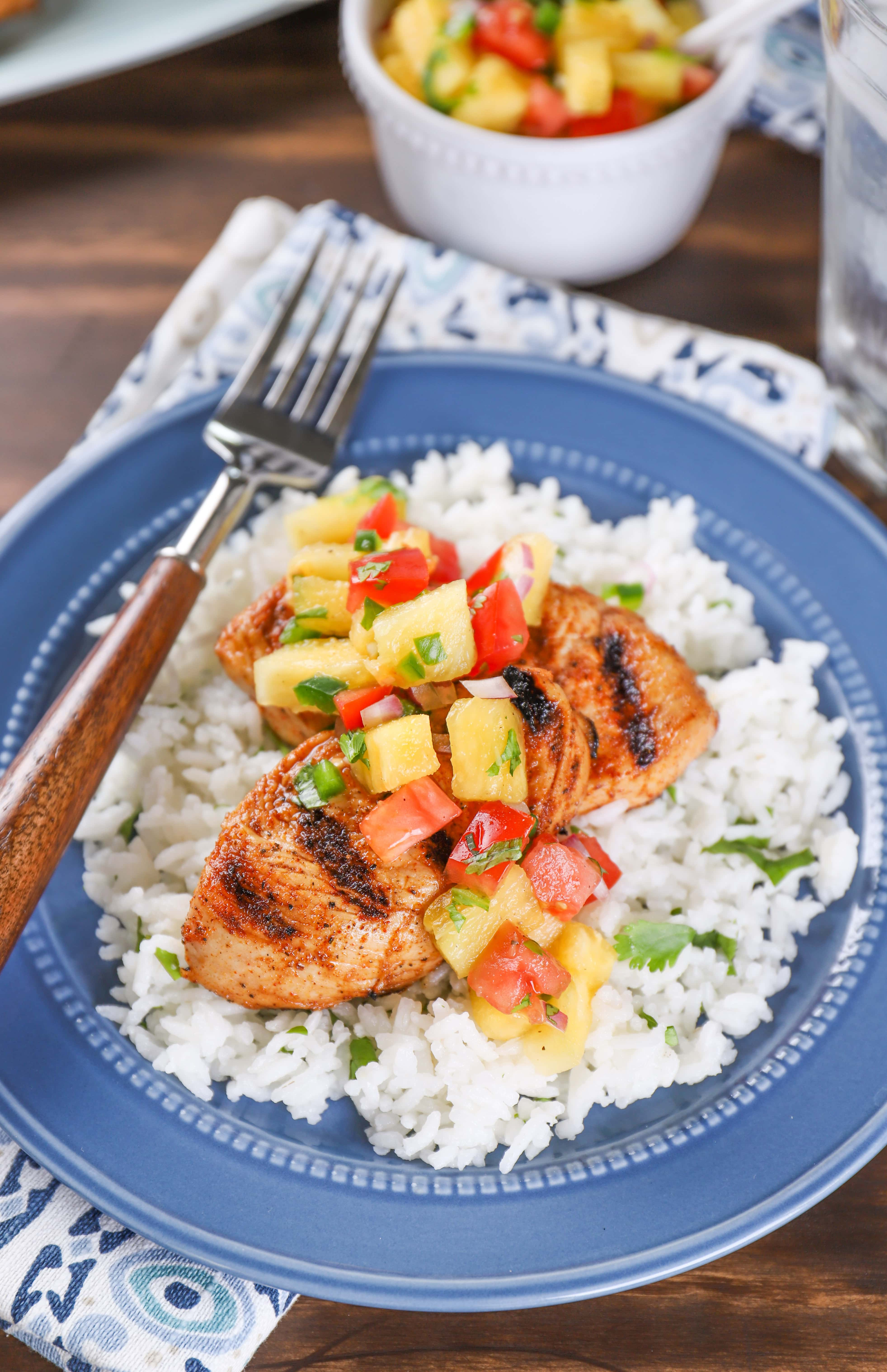 Grilled Chili Lime Turkey Tenders with Pineapple Salsa Recipe