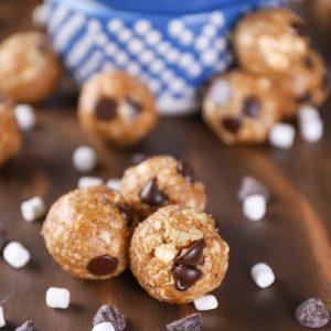 No Bake Dark Chocolate Smores Granola Bites Recipe from A Kitchen Addiction
