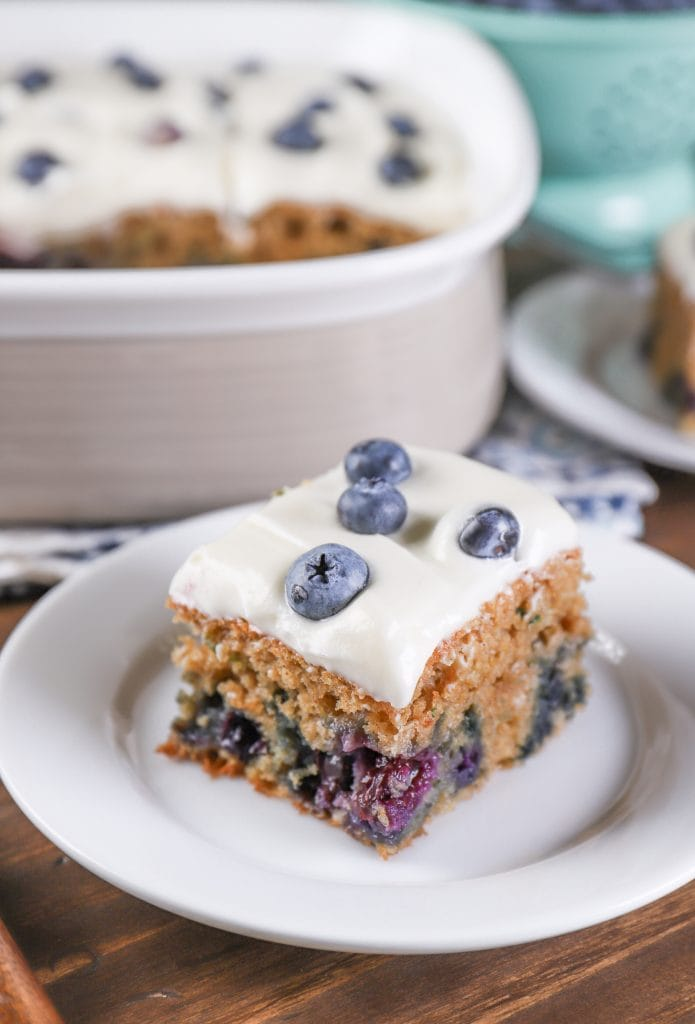 Blueberry Zucchini Snack Cake {Whole Wheat}