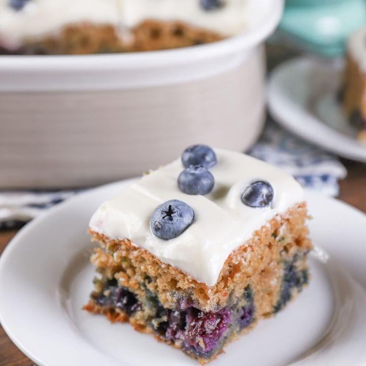 Blueberry Zucchini Snack Cake with Cream Cheese Frosting Recipe from A Kitchen Addiction