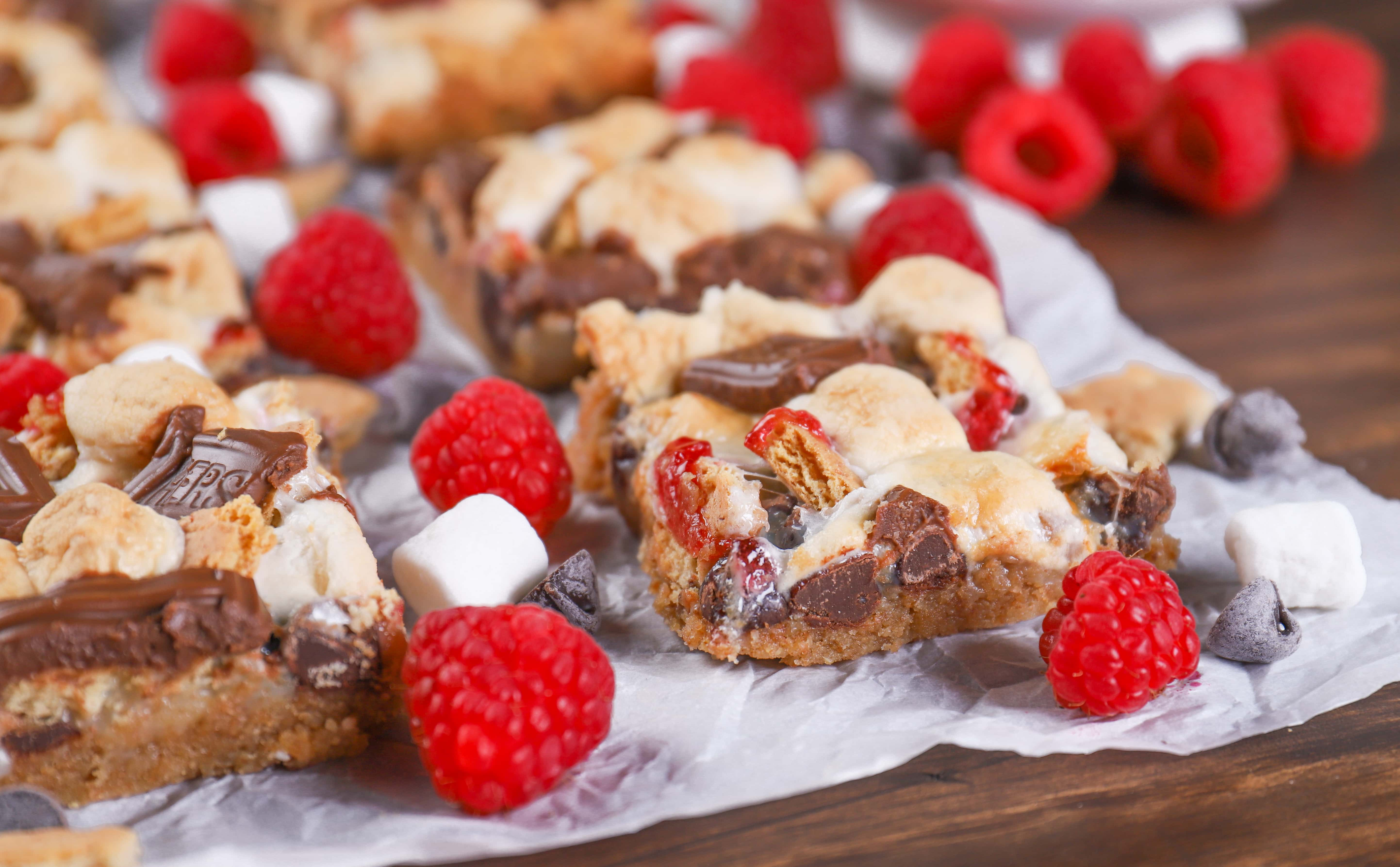 Raspberry Smores Seven Layer Bars (Magic Bars) Recipe