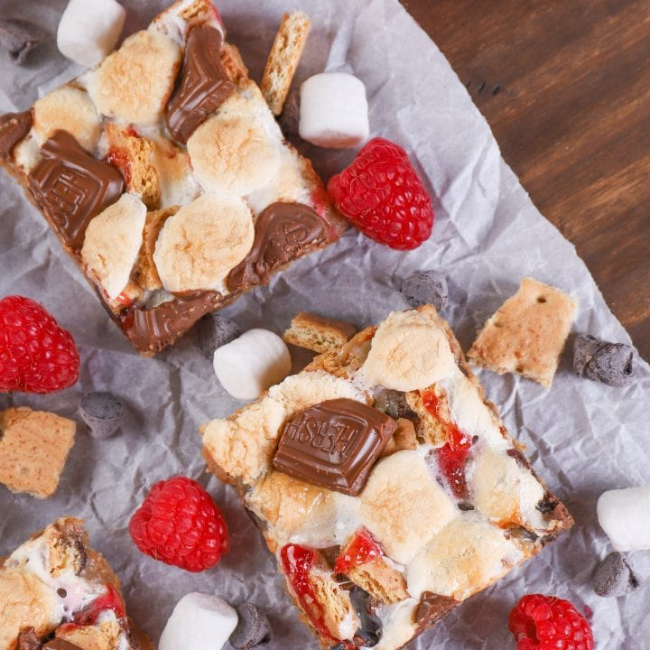 Raspberry Smores Seven Layer Bars Recipe from A Kitchen Addiction