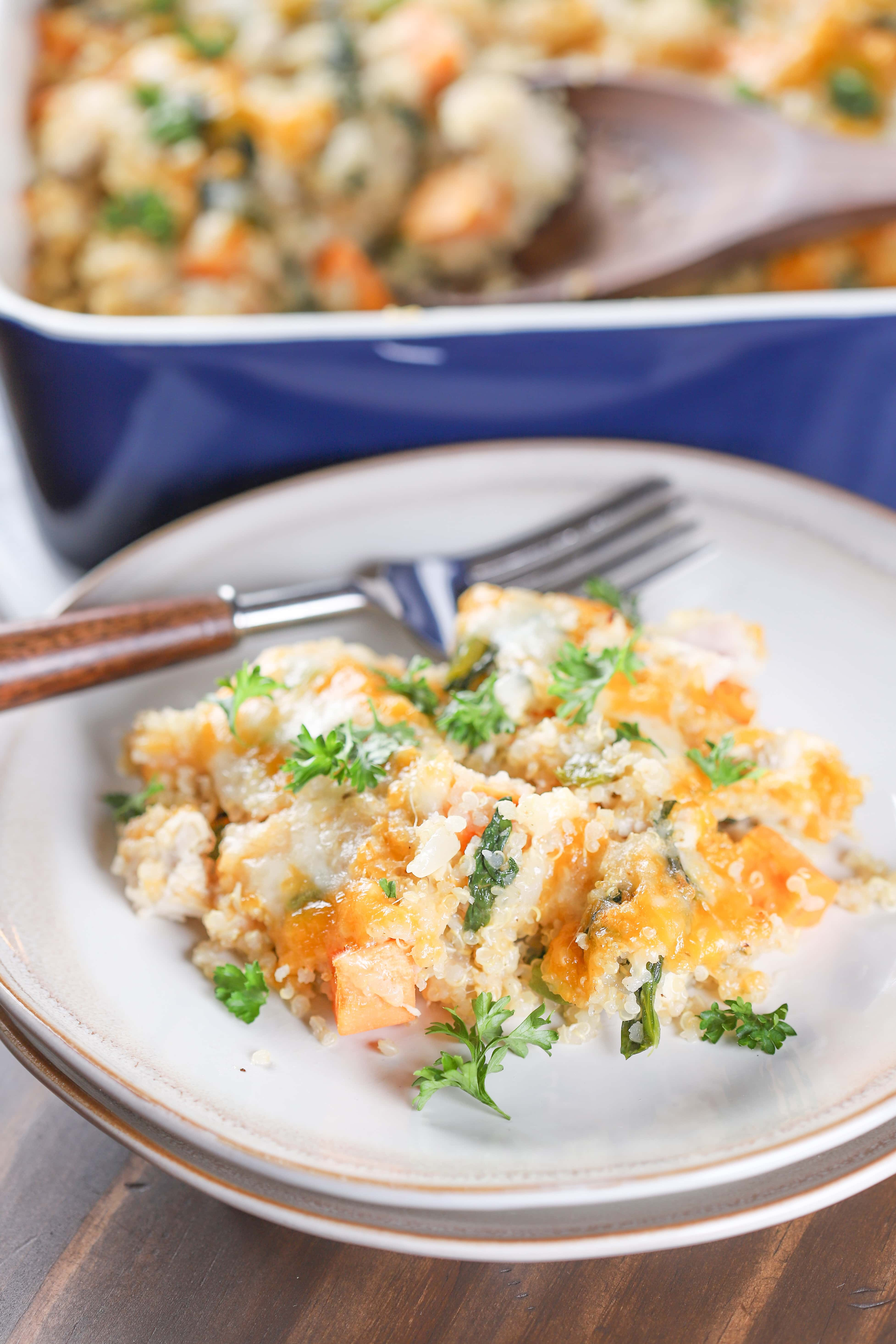Plated Turkey Sweet Potato Quinoa Bake Recipe from A Kitchen Addiction