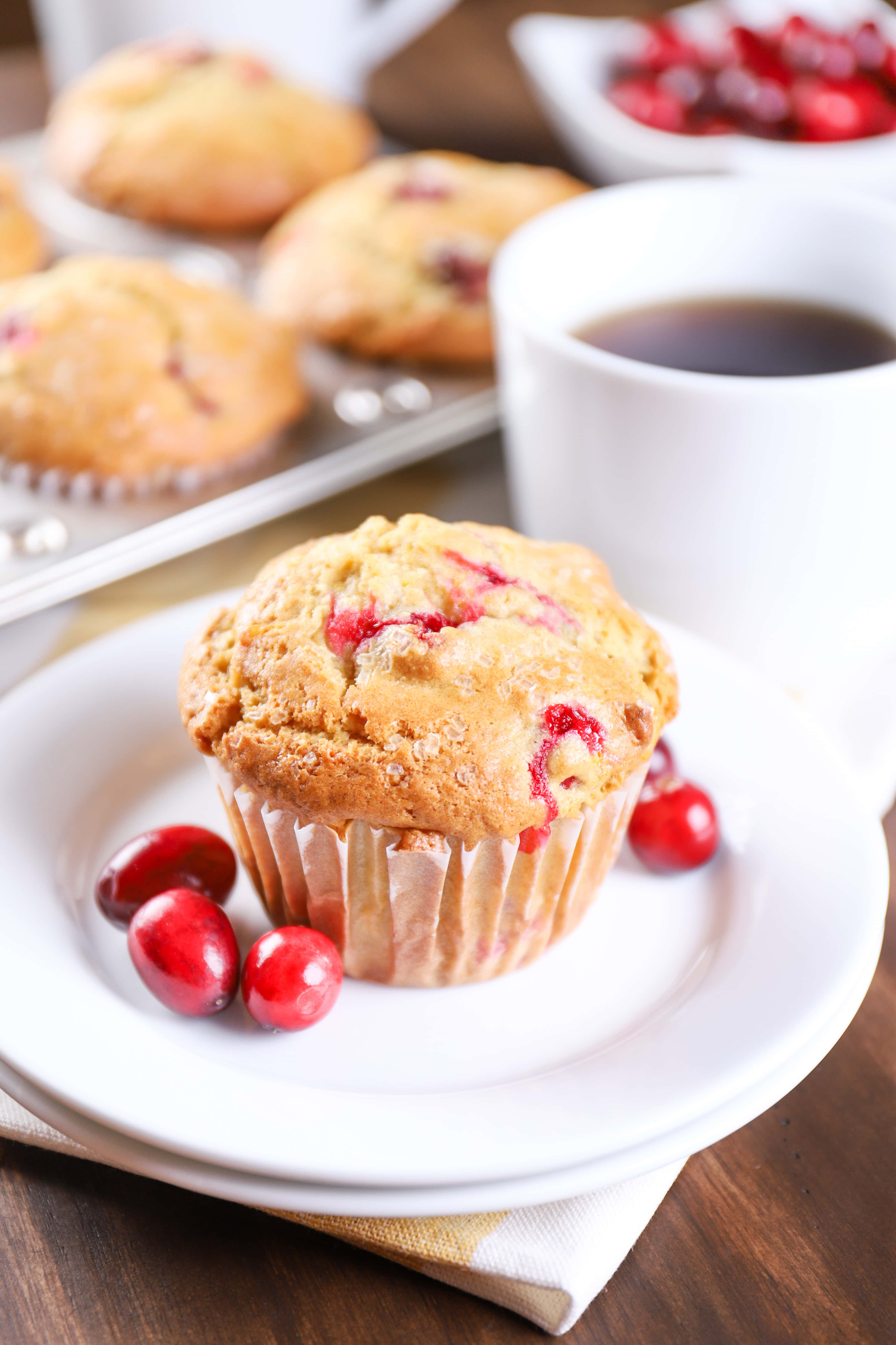Bakery Style Cranberry Orange Muffins Recipe from A Kitchen Addiction