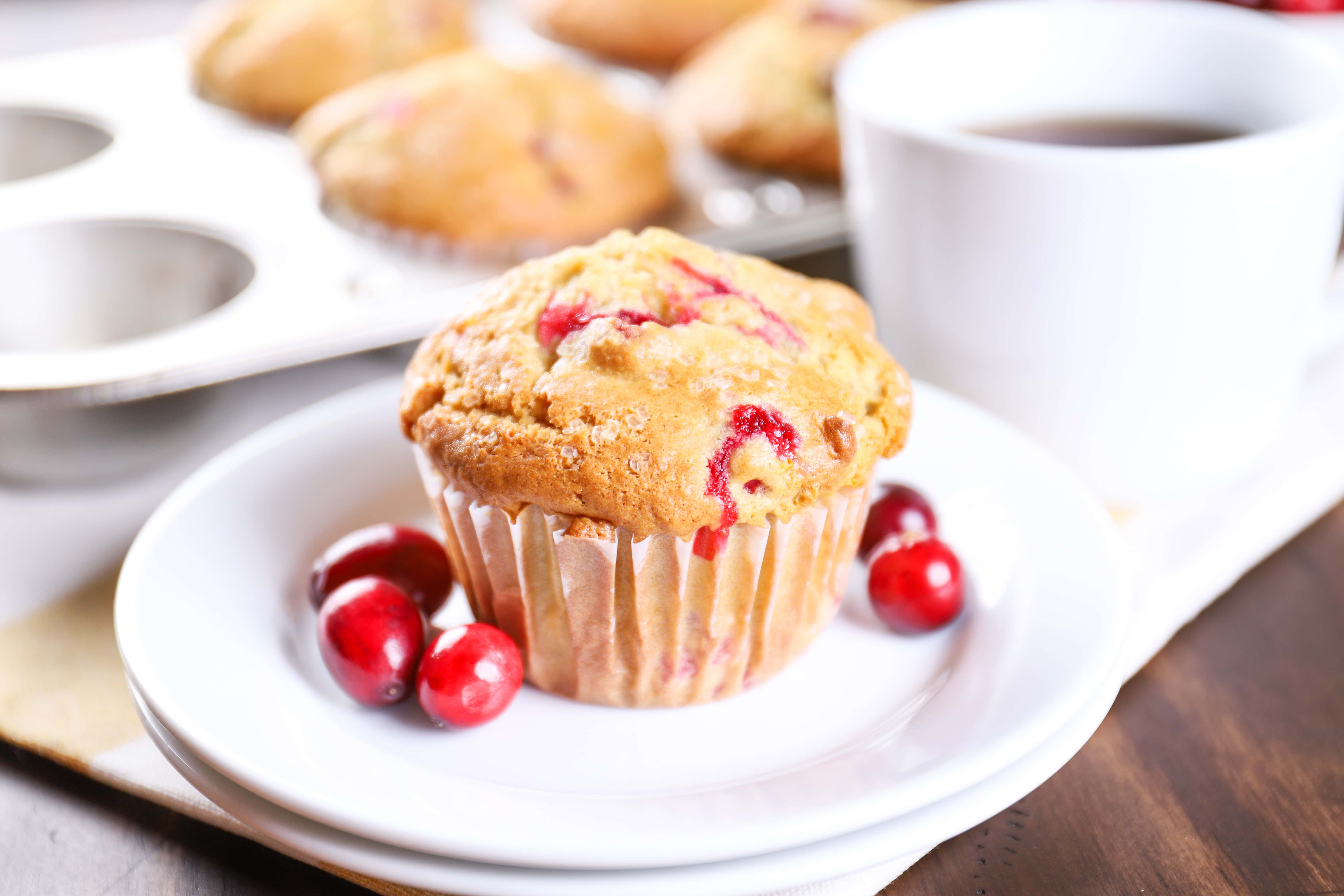 Plated Cranberry Orange Muffins. Recipe from A Kitchen Addiction